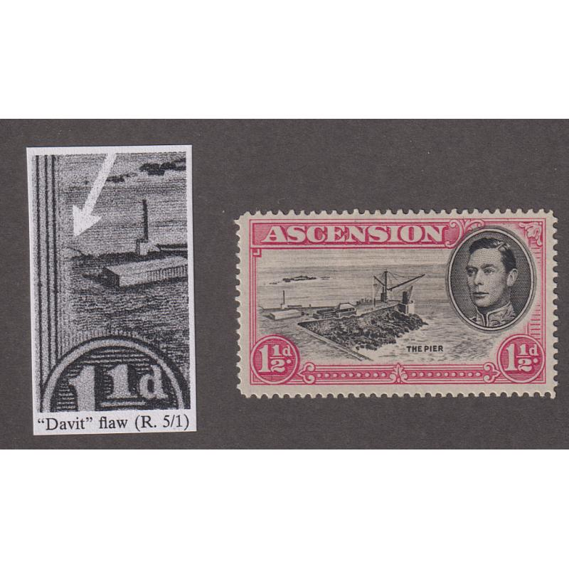 "(BB1742) ASCENSION · 1949: mint 1½d black & rose-carmine KGVI pictorial definitive THE PIER perf.14 showing the ""Davit Flaw"" SG 40da · excellent condition front & back · c.v. £140 (2 images)"