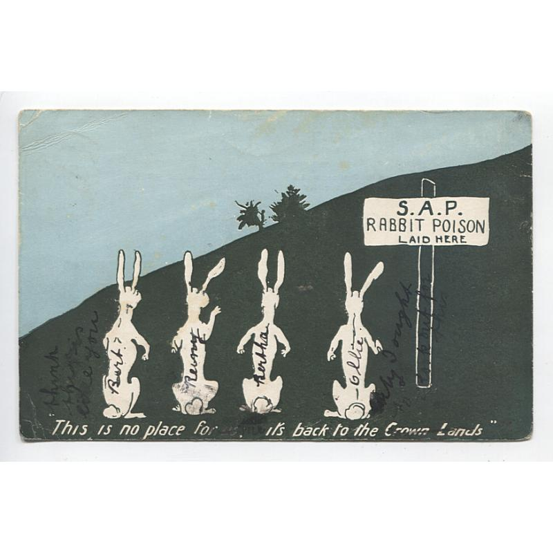(GG1106) NEW SOUTH WALES · 1906: used advertising postcard for S.A.P. RABBIT POISON · sender has written on the view side · overall condition is excellent