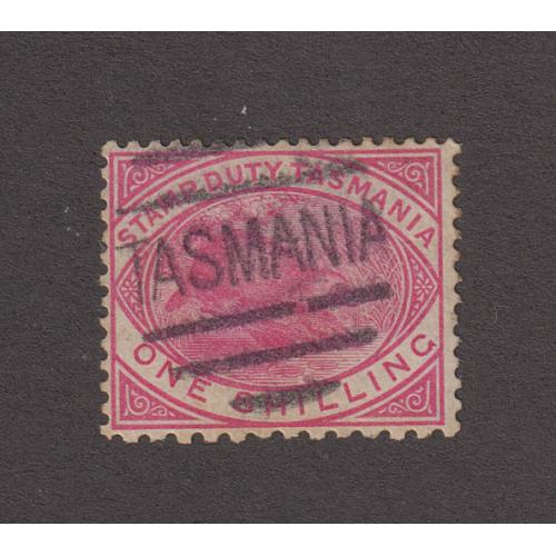 (JB1379) TASMANIA ·  soundly used 1/- rose-pink Platypus postal/fiscal perf 14x11 (at base) SG F29a · unpriced M or U by Stanley Gibbons · ex Lancaster and Ingles collections (2 images)