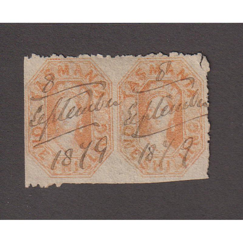 (JB1415) TASMANIA · 1878: fiscally used pair of 1/- orange QV Chalons perf.11½ SG 141a IMPERF BETWEEN · single stamp not priced by SG and pair unlisted · see full description · ex Dr. Owen Ingles