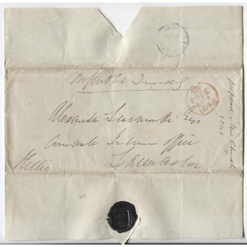 (JFC165L) TASMANIA - 1848: folded letter endorsed 'On Public Service' mailed with signature frank by Rev. John Lillie (Hobart FREE Dumb (iii) cds) to Launceston with arrival b/s) - some light peripheral wear o/wise nice condition