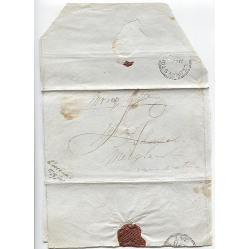 (JFC293) TASMANIA · 1847: Money Letter rated '4'(d) mailed from CLEVELAND to Launceston - postmaster's endorsement in LL corner - spike-hole and small stains o/wise condition is excellent (2 images)