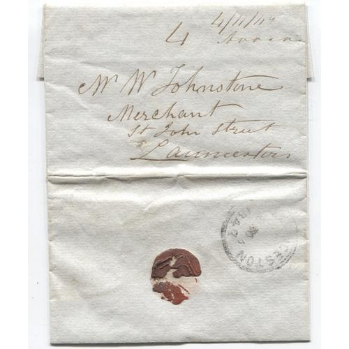 (JFC359) TASMANIA · 1847: folded letter to Launceston mailed at AVOCA - rated '4'(d) with postmaster's mss endorsement - L'ton Primitive (iii) cds on back rated 2R - fine condition