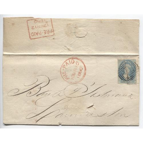 (JFC460) TASMANIA · 1860: folded letter outer bearing 4d blue QV Chalon franking with prominent pre-print paper crease tied by BN74 - mailed from Hobart to Launceston