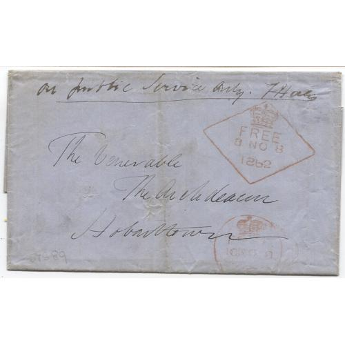 (JFC522) TASMANIA - 1862: folded letter outer endorsed On Public Service Only mailed to Hobart from Launceston - note good impressions of the Crown/FREE datestamps used at both office - see full description