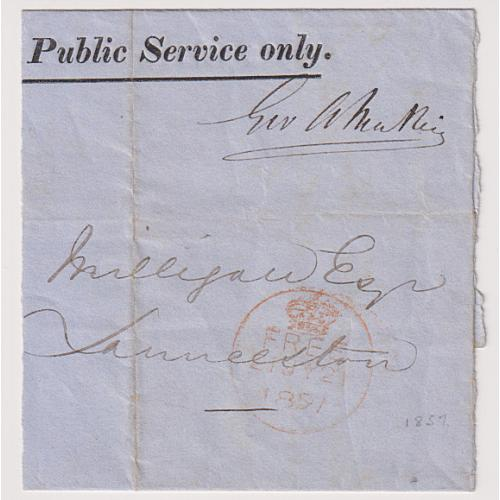 (JFC604) TASMANIA · 1857: reduced OPSO wrapper used as a receipt for a Road Rate · 'signature frank' at UR · see both largest images · BUY OUT price on bidding page