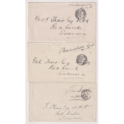 (JFC664) TASMANIA ·  1902: House of Assembly mail to Fred Shaw (Member for Glamorgan) from T. Waldruck (George Town), C. Lyne (Ringarooma) and J. Von Stieglitz (Evandale) · see largest image