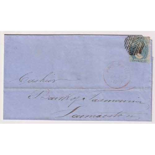 (JFC822) TASMANIA · 1867: clean folded letter 'outer' with imperf 4d blue QV Chalon franking tied by a clear strike of the 14 bar obliterator used at the HOBART GPO · excellent appearance · see full description