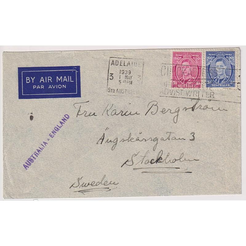 (MM1080) AUSTRALIA · 1939: small cover to Sweden carried Australia/G.B. by air an then onforwarded by surface mail (1/7d rate paid) · fine condition · no b/stamps