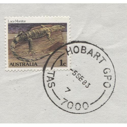 (QQ1098) TASMANIA · 1983: a VF 'per favour' impression of the HOBART GPO Type 7(vii) cds on a large piece · postmark is rated 4R