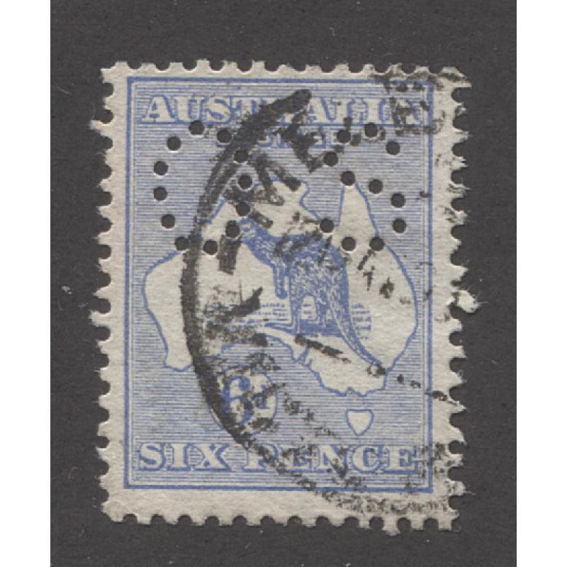 (QQ1323) AUSTRALIA · 1913: soundly used 6d ultramarine Roo with 1st Wmk INVERTED perf small OS ACSC 17a, bc · 2017 c.v. AU$4.000 · see both largest images
