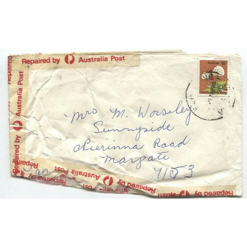 (QQ1517) AUSTRALIA · 1978: damaged cover to Tasmania repaired by Australia Post · it certainly looks the part!