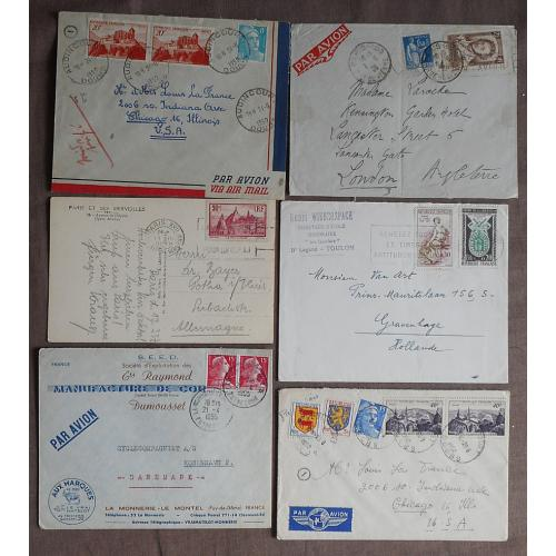 (QQ1598L) FRANCE · 1937/60: 12 multi-franked covers to foreign destinations all in VG to F condition · interesting assembly (3 images)