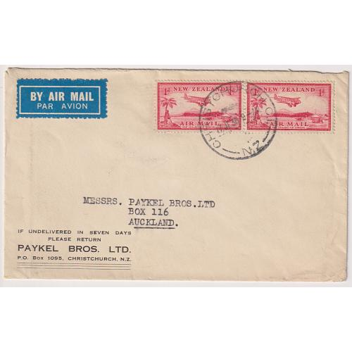 (QQ1663) NEW ZEALAND · 1936: small commercial domestic air mail cover in excellent to fine condition - $5 STARTER!!