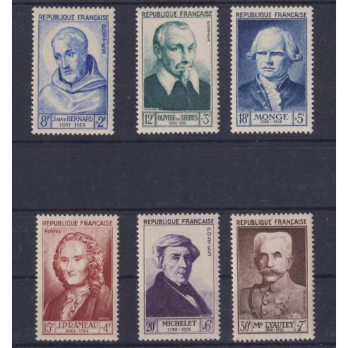 (QQ1683) FRANCE · 1953: MLH 'Famous Frenchmen' set Scott B276/281 in fine condition front and reverse · c.v. US$50+ for MNH (2 images)