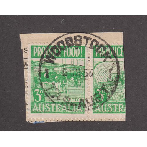 (QQ1688) TASMANIA · 1955: a full strike of the WOODSTOCK Type 5 cds on piece · usual wear noted · postmark is rated 2R