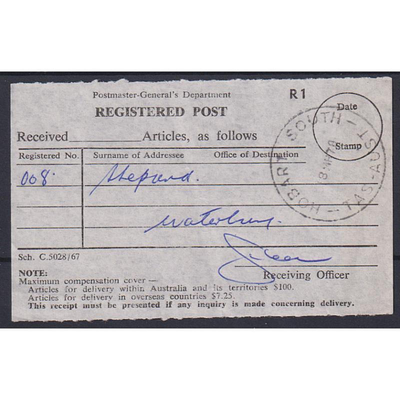 (QQ1699) TASMANIA · 1970: a full clear strike of the HOBART SOUTH Type 5(s) cds on a Registered Post receipt · postmark is rated 4R