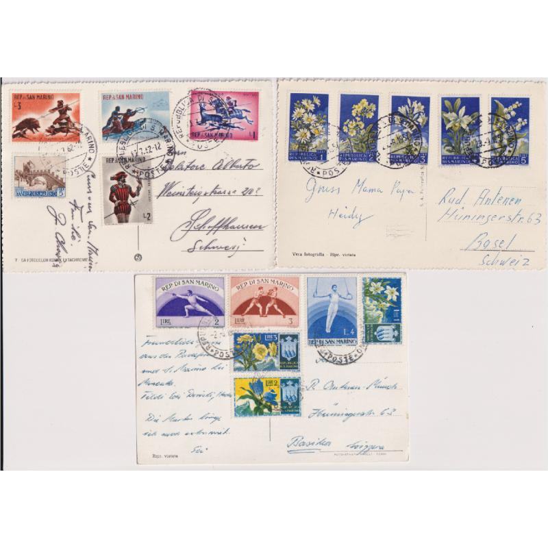 (QQ1715) SAN MARINO · 1955/62: three attractively franked PPCs mailed to Switzerland all in excellent to fine condition (3)