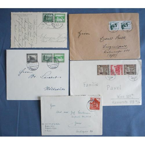 (QQ1742) GERMANY · 1935/41: 4 covers and a card · inland use with 'better' frankings · nice condition throughout (5)