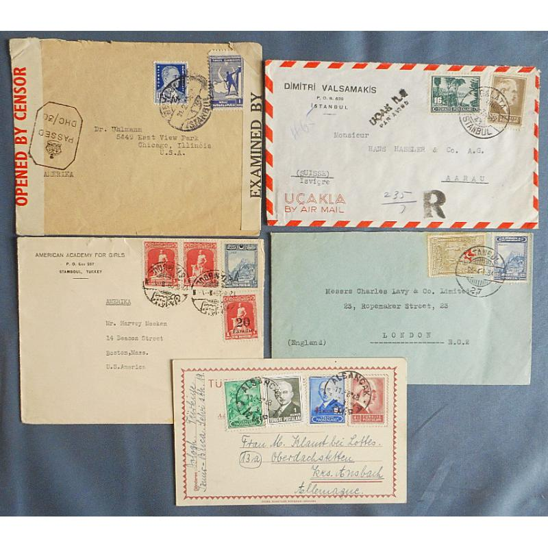 (QQ1755) TURKEY · 1929/48: 4 covers and an uprated postal card to foreign destinations · includes censored and air mail items · excellent to fine condition throughout · see largest image (5)