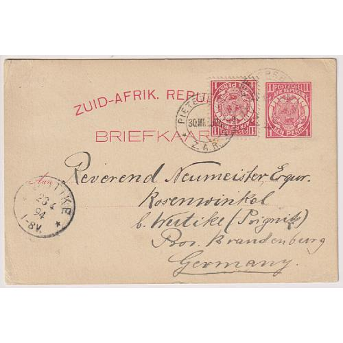 (QQ1760) TRANSVAAL · 1894: uprated 1d Arms postal card H&G 2a mailed to Germany via London (transit b/stamps) · fine condition