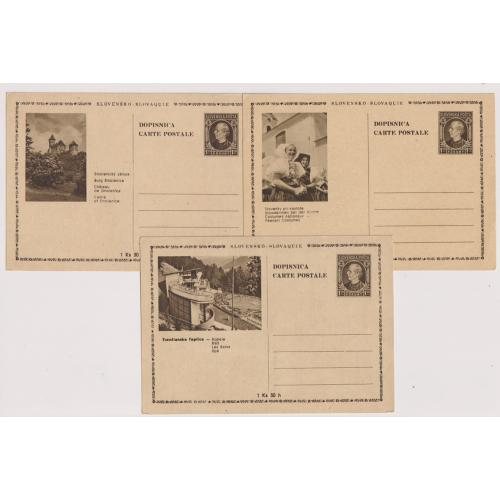 (QQ1779) SLOVAKIA · 1940s: three different 1.20k pictorial postal cards all in F to VF condition (3)
