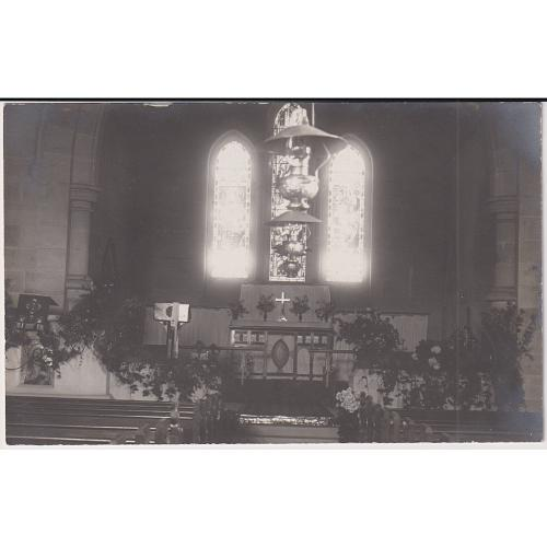(QQ1798) TASMANIA · c.1910: real photo card with an interior view of the altar and stained glass window at ST MICHAEL & ALL ANGELS Anglican Church, Bothwell · fine condition