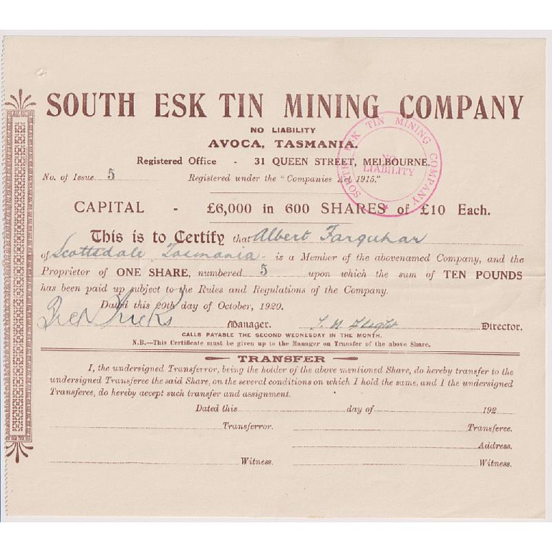 (QQ1986L) TASMANIA · 1920: mining share scrip comprising ONE share in the SOUTH ESK TIN MINING COMPANY N.L. mine near Avoca · has been folded once for mailing otherwise in VF condition