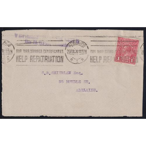 (UU1142) AUSTRALIA · 1920: Shierlaw cover FRONT bearing smooth paper Die I 1d carmine-red KGV franking showing the SUBSTITUTED CLICHÉ variety ACSC 71(2)ja · not priced on cover (2 images)