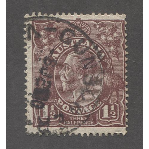 (UU1521) AUSTRALIA · 1919: commercially used 1½d brown KGV defin (LM Wmk) w/variety WHITE FLAW ON EMU'S FOOT ACSC 86(U)g · c.v. AU$500