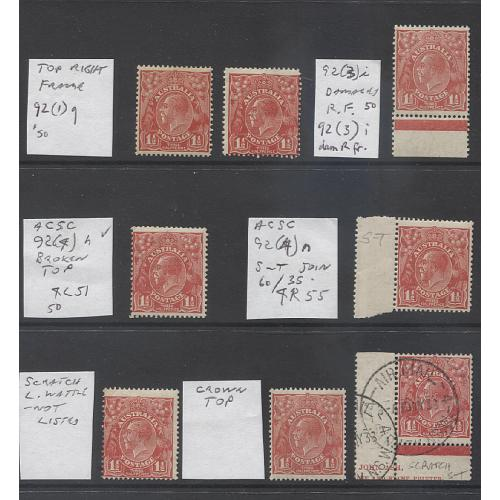 (UU1527) AUSTRALIA · 8x 1½d red KGV (SM Wmk · perf.13½x12½) all with VARIETIES as marked on the large image · 7 used / 1 mint · total c.v. AU$275+ (8)