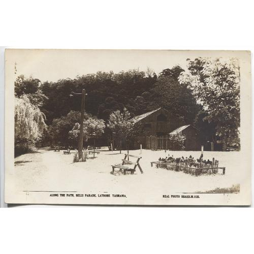 (WS1177) TASMANIA  · 1920s: unused real photo card by Valentines (M.1125) w/view ALONG THE PATCH, BELLS PARADE LATROBE · fine condition · scarce card in my experience